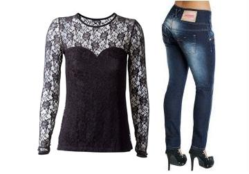 blusa de renda e calça a jeans