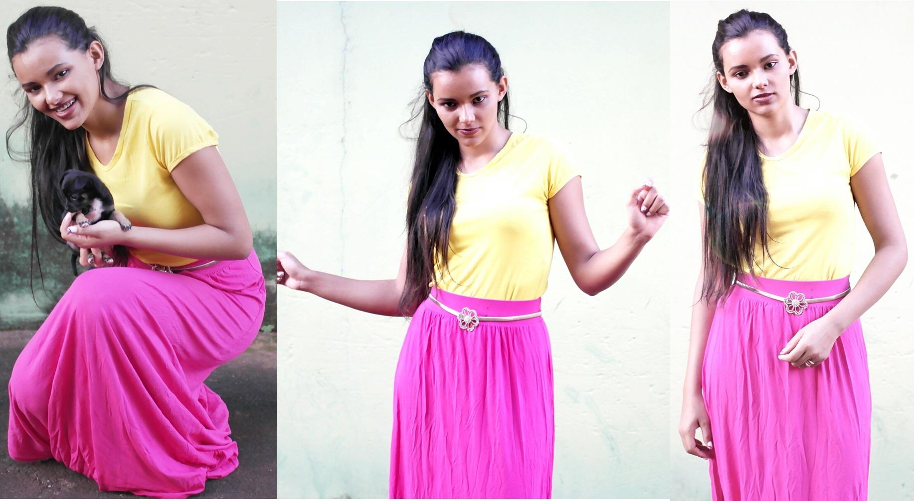 blusa-amarela-e-saia-rosa