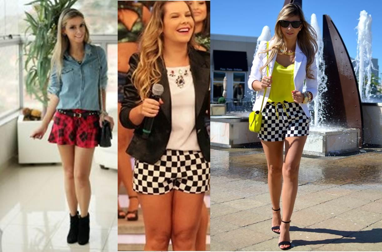 looks com shorts xadrez