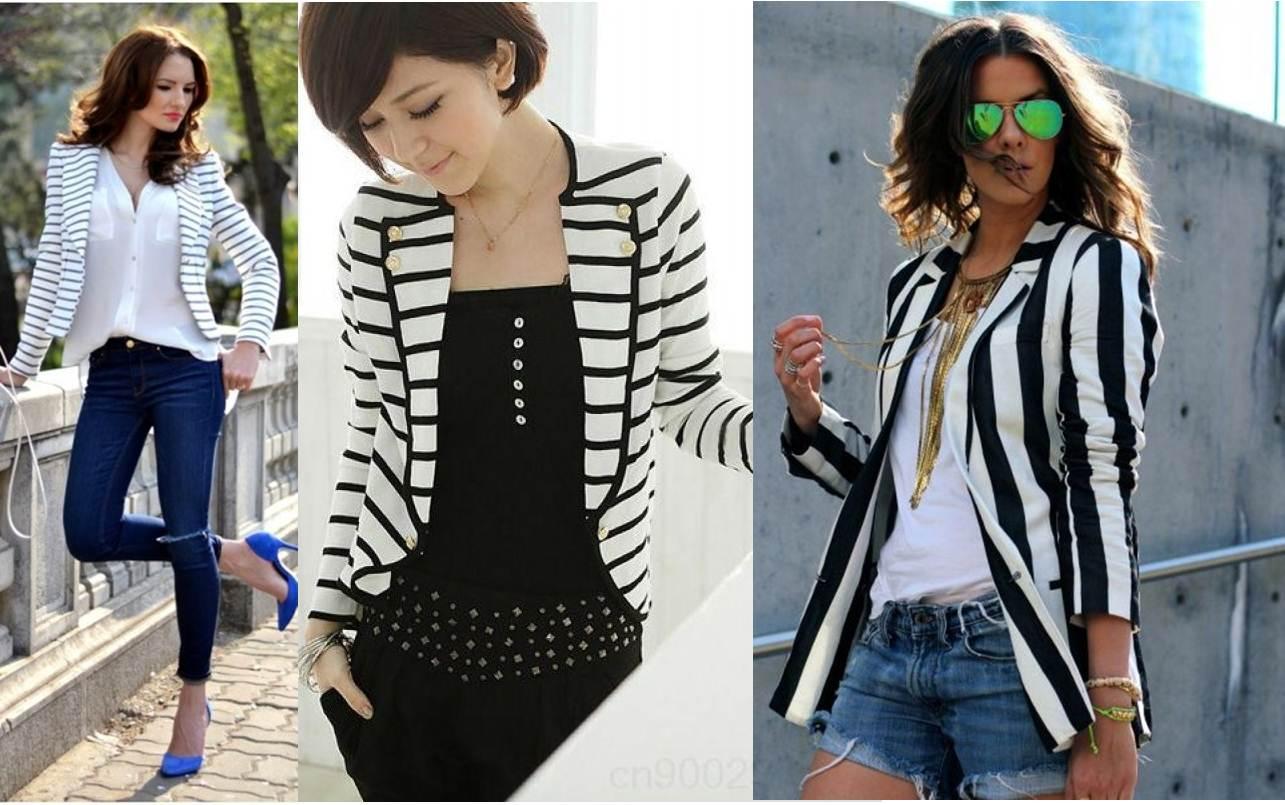 blazers listrados em preto e branco