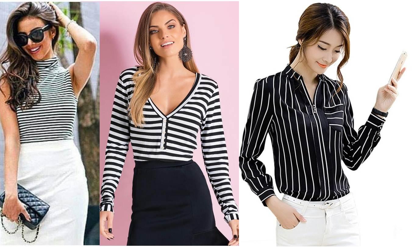 blusa listrada em preto e branco