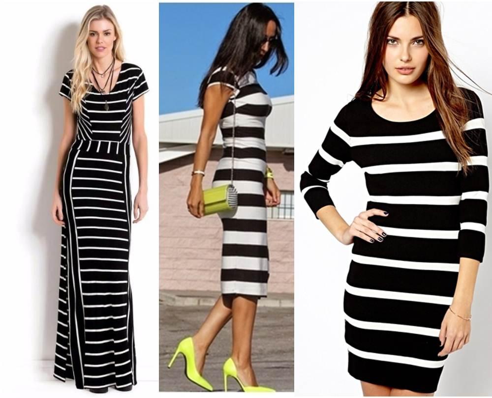vestido listrado em preto e branco