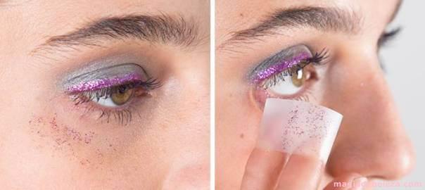 Fita adesiva para remover maquiagem com brilho