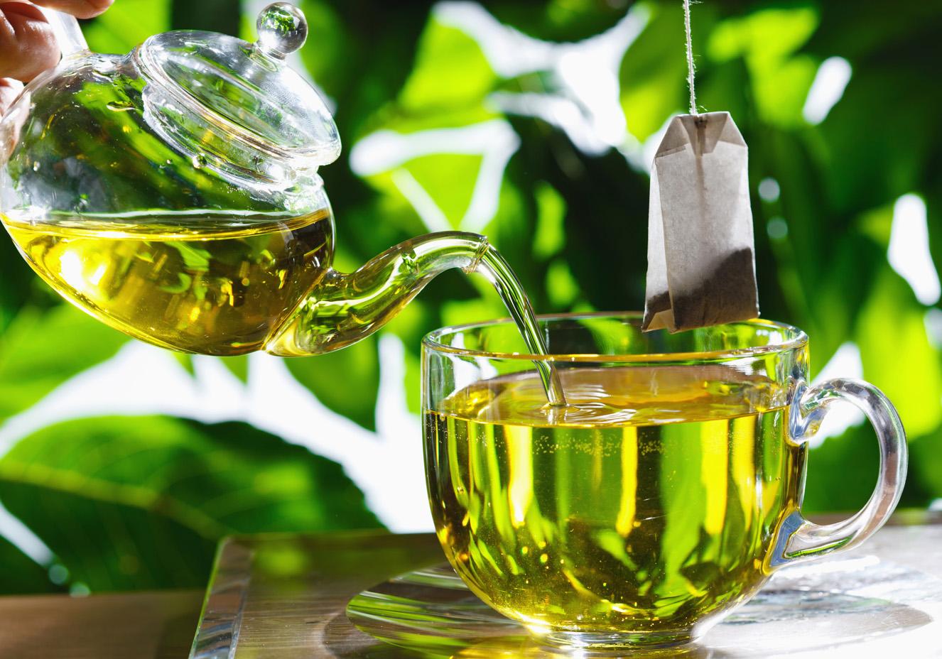 chá verde para pele facial